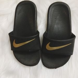 Kid's Nike Slides size 12.5 Gold Swoosh